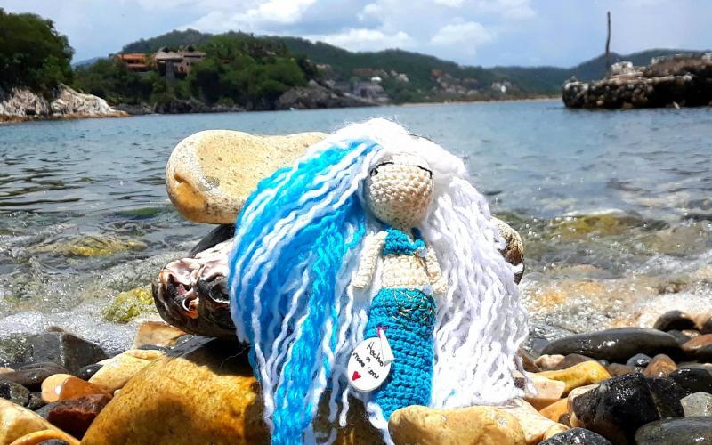 Sirena Azul Tejida En Crochet